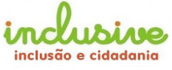 Logotipo da Inclusive. A palavra inclusive entre parnteses subscrita pelos termos incluso e cidadania.