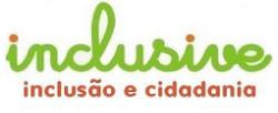 Logotipo da Inclusive. A palavra inclusive entre parênteses subscrita pelos termos inclusão e cidadania.