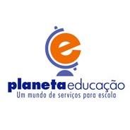 "Logotipo do Planeta Educacao, onde vê-se a letra ""e"" imitando o globo terrestre e o texto ""um mundo de serviços para escola""."