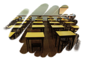 Inclusive - sala de aula vazia.