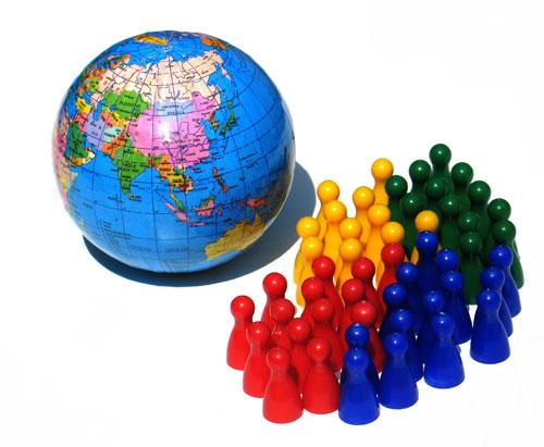 Inclusive - direitos humanos: o globo terrestre e ícones representando pessoas de várias cores.