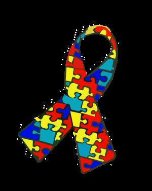 Fita com peças de quebra-cabeças coloridas, símbolo do autismo