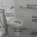 Exemplo de banheiro acessível com custos de adaptação