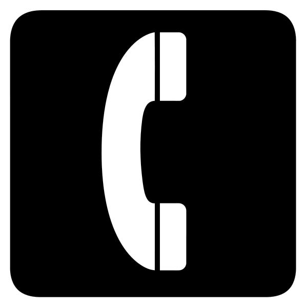 Simbolo do telefone - Fone branco sobre fundo preto