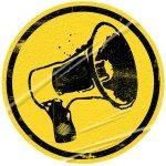 Inclusive - megafone, símbolo de denúncia social.