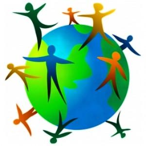 Inclusive - direitos humanos - um planeta cercado por figuras humanas.