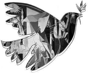 Pomba, preenchida com o quadro de Picasso Guernica, representando os Direitos Humanos