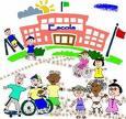 Desenho infantil com varias criancas em frente a escola