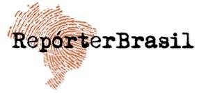 Repórter Brasil - o mapa brasileiro com o relevo de impressão digital e o texto imitando o tipo de máquina datilográfica.
