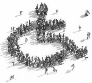Desenho de cadeira de rodas vista de cima, formada por união de pessoas