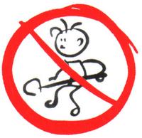 Ilustração de menino trabalhando com pá, dentro de círculo vermelho com traço no meio