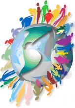 Ilustração de várias pessoas de diferentes tamanhos e cores em volta de um globo terrestre