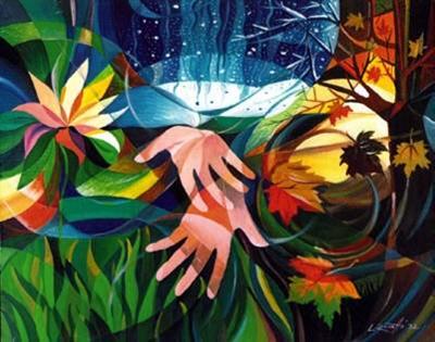 Pintura colorida onde se veêm plantas flores e duas mãos