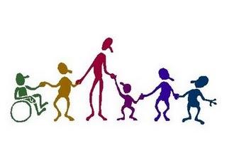 Inclusive - educação especial - ilustração de figuras humanas de diversos tamanhos e cores