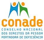 Logotipo do CONADE - Conselho Nacional dos Direitos da Pessoa Portadora de Deficiência, a ilustração de duas pessoas de braços apertos