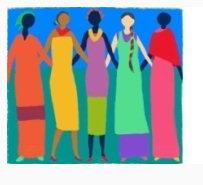 Inclusive - gênero - ilustração de cinco mulheres lado a lado