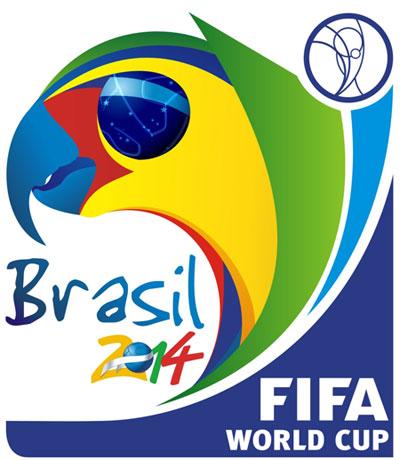 Logotipo da Copa 2014 - onde aparece um papagaio formado pelas cores da bandeira brasileira. O nome FIFA no canto direito da imagem eo o texto Brasil 2014 no canto esquerdo.