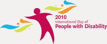 2010 - International Day of People with Disabilities, uma figura humana cercada por pinceladas coloridas