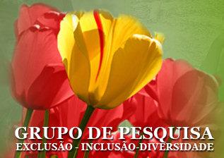 Grupo de pesquisa exclusão, inclusão e diversidade - no fundo do texto a imagem de uma flor amarela