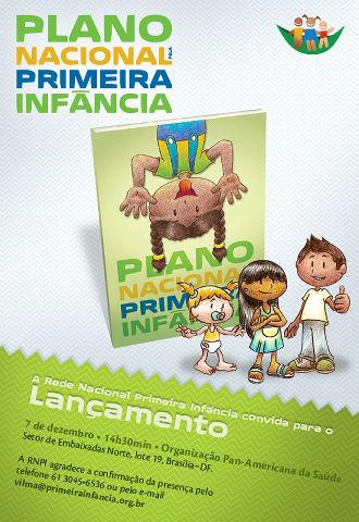 RNPI - Convite de lançamento onde aparecem crianças diante da publicação e informações sobre o lançamento