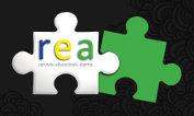 REA - Recursos Educacionais Abertos - duas peças de quebra-cabeças, uma com a sigla REA e outra vazada