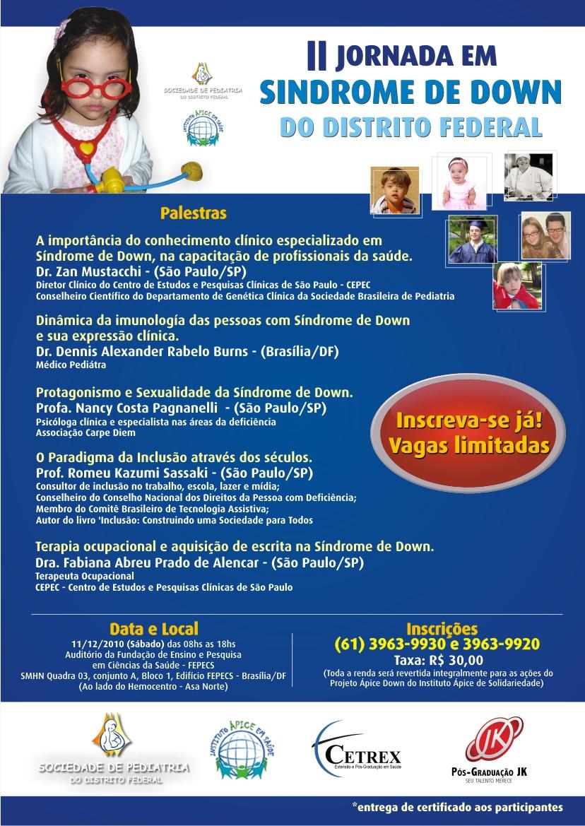 Cartaz II Jornada, fotos de crianças e adultos com síndrome de Down. Na foto principal, menina fanstasiada de médica.