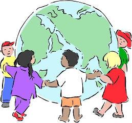 Ilustração de crianças em torno do mundo