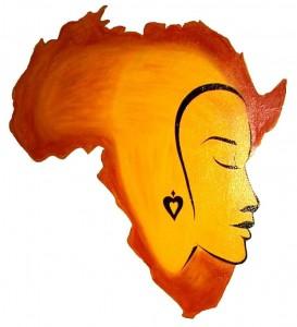 Desenho do continente africano se confunde com ilustração de rosto de mulher de perfil