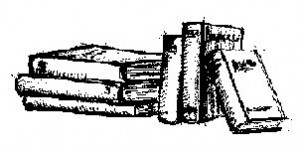 Livros na vertical e horizontal, em bico de pena
