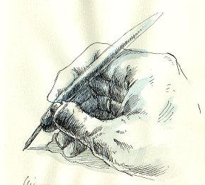 Ilustração de mão escrevendo com bico de pena