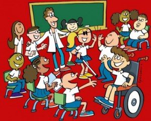 Ilustração de 10 alunos de diferentes cores e habilidades, alguns sentados, outros de pé, em sala de aula e um professor com o braço nos ombros de dois dos alunos