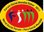 Logo do Fórum Social Mundial Dacar 2011 - oval amarela na borda, vermelha no centro e ilutração estilizada de pessoas em azul, branco e verde