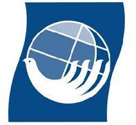 Logotipo da Carta da Terra - em fundo azul, uma pomba estilizada envolvendo um globo terrestre