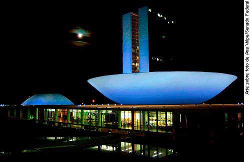 Congresso Nacional a noite, iluminado de azul