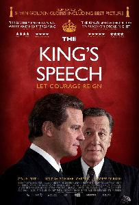 Cartaz do filme O Discurso do Rei, os atores Colin Firth e Geoffrey Rush aparecem em primeiro plano