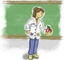 Desenho de professora com uma maçã na mão