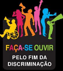 """Logotipo da campanha """"Faça-se ouvir"""", na qual várias pessoas, mulheres, homens, crianças e um cadeirante, cada um com um megafione nas mãos, representam a diversidade."""