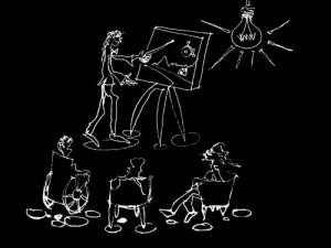 Ilustração em fundo preto, desenho em giz representando professor mostrando quadro enquanto três alunos assistem sentados, um deles em cadeira de rodas. No alto a direita, uma lâmpada acesa ilumina a cena.