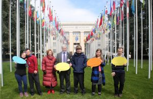 Down syndrome self advocates pose for picture in front of the UN building during the World Down Syndrome Day events at the Palais the Nations, United Nations, Geneva. 21/03/2018 Photo: Paula Dias Leite