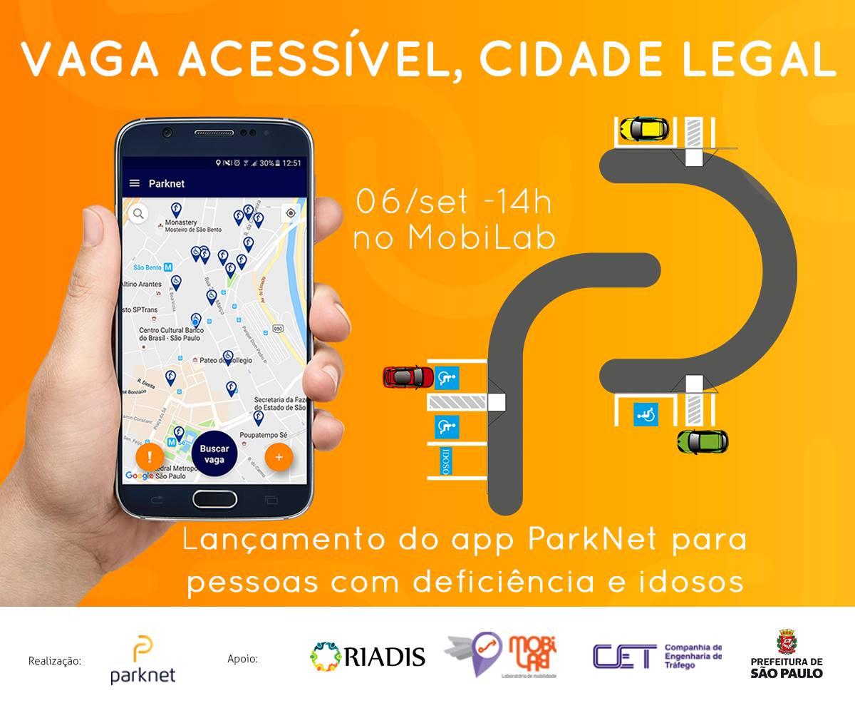 Sob fundo laranja, uma mao segura um celular com pins marcados na tela. Vaga acessivel, cidade legal. 6/9, 14h, no Mobilab Lançamento do aplicativo Parknet para pessoas idosas e pessoas com deficiencia.