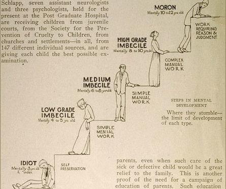 """ilustração em inglës mostra escada com bonecos subindo os degraus, o degrau mais baixo """"idiota"""", """"imbecil grau baixo"""", """"imbecil médio"""", """"imbecil alto nível"""", e """"moron""""."""