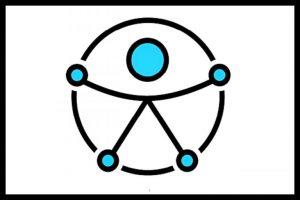 figura de homem feita de palatinos, com cabeça, pessoas e Maos azuis, brancos abertos, envolvidos por um circulo.
