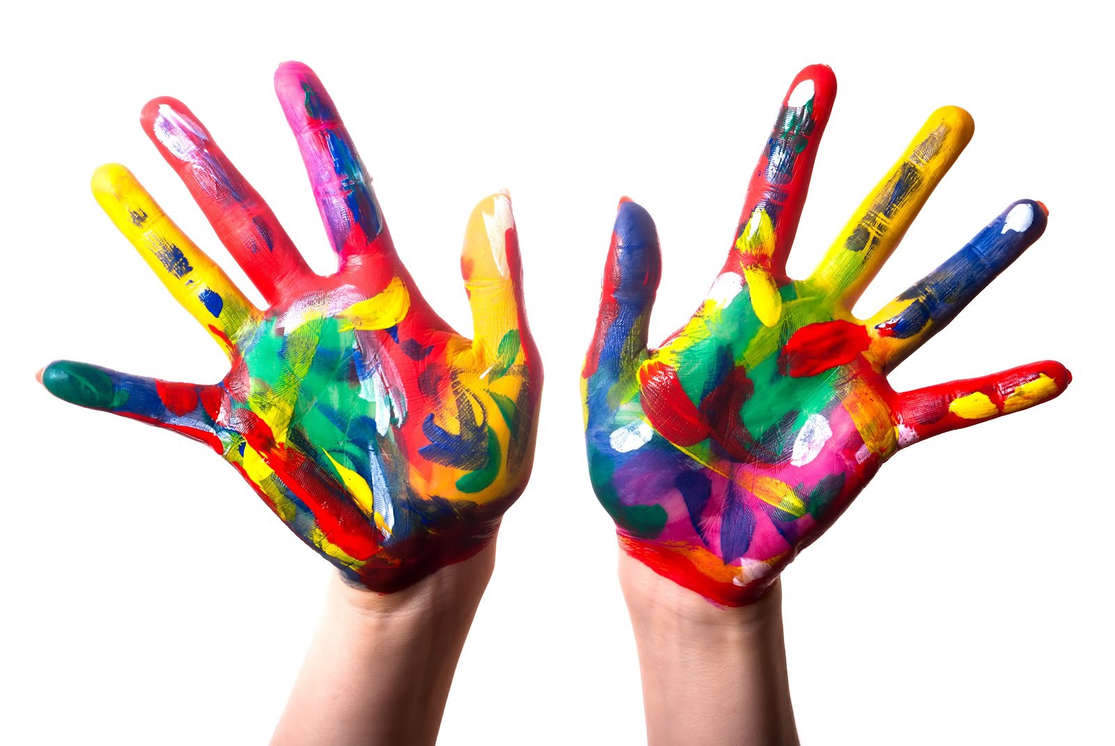 duas maos coloridas de tinta.