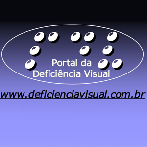 portal da deficiencia visual. fundo azul degrade,.