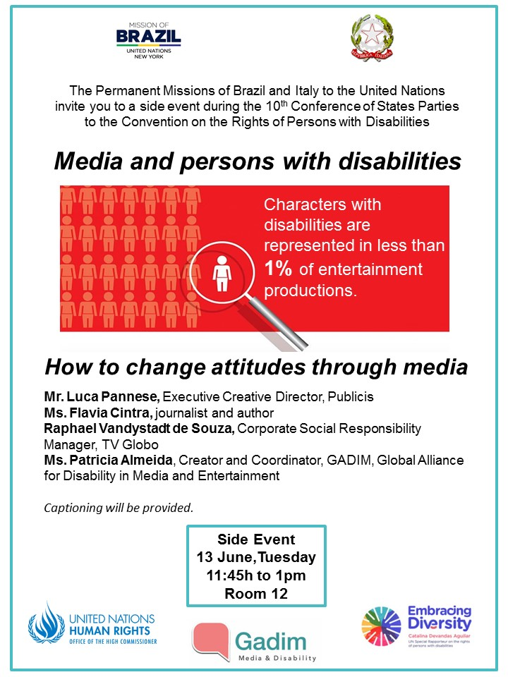 LEAFLET OF THE EVENT INFORMATION IN THE TEXT. IMAGE OF PERSON ILLUSTRATION - LESS THAN 1% CHARACTERS WITH DISABILITIES ON TV.