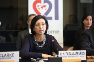 Brazilian Ambassador Maria Nazareth Farani Azevêdo opens the World Down Syndrome Day meeting at the Palais the Nations, United Nations, Geneva. 21/03/2018 Photo: Paula Dias Leite/DSI