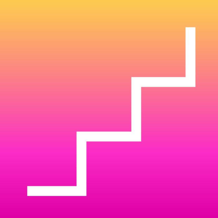 nun fundo rosa, degrade, subindo chegando ao amarelo, esta desenhada uma escada em branco.