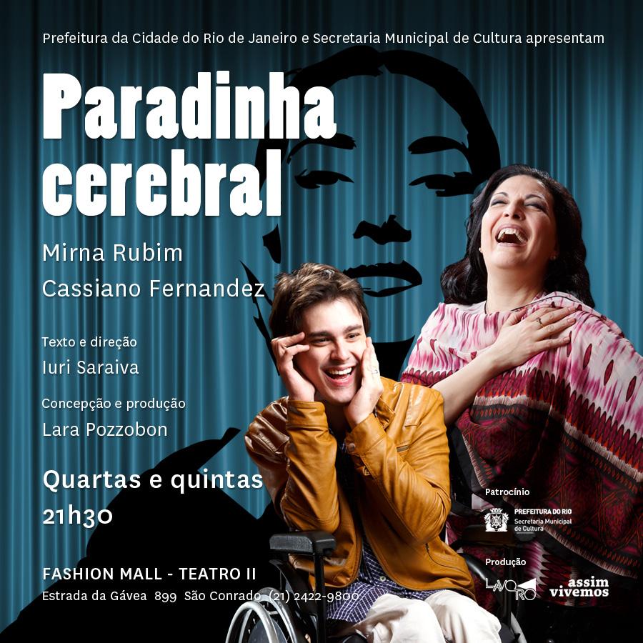 rapaz com paralisia cerebral e mulher riem na foto sobre fundo azul com a silhueta de uma mulher ao fundo. cartaz da peça. Informações siobre o espetáculo no corpo da matéria.