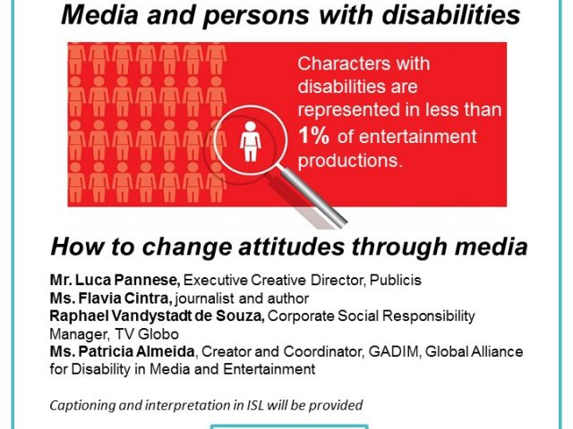 LEAFLET OF THE EVNT INFORMATION IN THE TEXT. IMAGE OF PERSON ILLUSTRATION - LESS THAN 1% CHARACTERS WITH DISABILITIES ON TV.