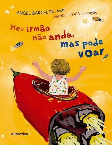 Capa do livro: ilustração de uma criança dentro de nave espacial.
